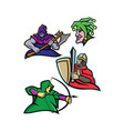 medieval court character mascot collection vector image