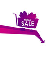 mega sale banner with trolley and gift boxes drop vector image vector image