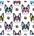pattern with french bulldogs with glasses vector image vector image