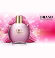 perfume rose bottles on soft pink background vector image vector image