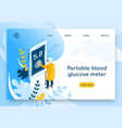 portable blood glucose meter web banner vector image