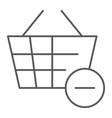 remove from bucket thin line icon shopping and vector image