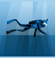 scuba diver diving under water in blue sea vector image