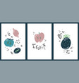 set cute creative card with fruits vector image vector image