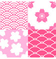 set of seamless patterns with sakura and waves vector image vector image