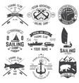 set sailing camp and fishing club badges vector image