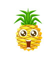 smiling funny pineapple with big eyes cute vector image