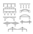 types of bridges in linear style set vector image