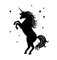 unicorn black silhouette isolated on white vector image vector image