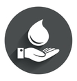 Water drop and hand sign Save water symbol vector image
