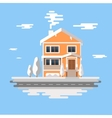 winter house image orange brick vector image