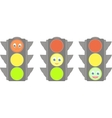 set of traffic lights with smiles vector image