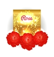 Gold bokeh background with red roses vector image