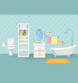 bathroom interior bath room furniture set vector image
