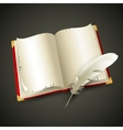 Old book and pen vector image