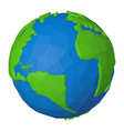 africa and america on low poly 3d globe with blue vector image vector image