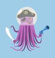 alien intruders space pirate octopus cosmic vector image vector image