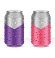 aluminum cans in golden and red with water drops vector image