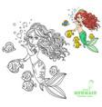 beautiful mermaid girl sends an kiss coloring vector image vector image