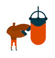 boxer and punching bag sports training punch power vector image