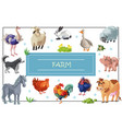 cartoon farm animals template vector image vector image