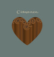 cinnamon sticks in a heart shape vector image vector image