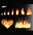 collection fire - flames and a heart shape vector image vector image