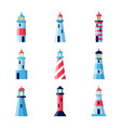 colorful lighthouse icons set in flat style vector image