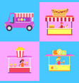 cotton candy stalls set poster vector image vector image