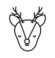 cute deer head cartoon icon thick line vector image