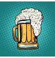 foamy mug of beer pop art retro vector image