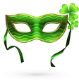 Green carnival mask with clovers vector image vector image