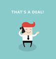happy businessman talking by the phone vector image vector image