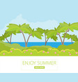 jungle forest green landscape with sea flat vector image vector image