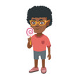 little african boy holding a lollipop candy vector image vector image