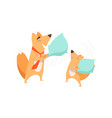 loving father fox and his little baby eating vector image vector image