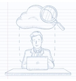 Man working on laptop vector image vector image