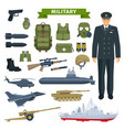 military man with weapon personal equipment icon vector image