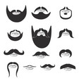 mustache and beard icon collection for barbershop vector image
