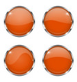 orange round buttons with chrome frame with vector image