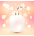 Pink Christmas ball on shining bokeh effect vector image vector image