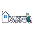 plumber and piping system vector image vector image