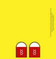 poster red sneakers shoes on yellow background vector image vector image
