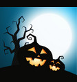 pumpkins silhouette with dry tree on dark blue sky vector image vector image