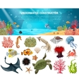 Sea Life Constructor Isolated Icons Set vector image