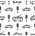 seamless pattern with car and tram icons road vector image vector image