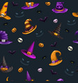 seamless pattern with cartoon colorful halloween vector image vector image