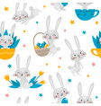 seamless pattern with rabbits flowers and vector image vector image