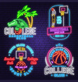 set basketball club neon design or emblem vector image vector image