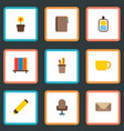set of office icons flat style symbols with vector image